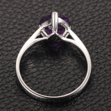 Heart Shaped Amethyst Engagement Ring Pave Diamond Wedding 14K White Gold 8mm Claw Prongs - Lord of Gem Rings - 4