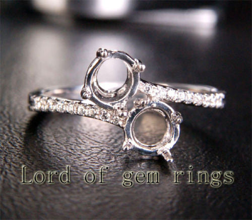 Unique 5mm Round Cut 14K White Gold Pave Diamonds Engagement Semi Mount Ring 6# - Lord of Gem Rings - 1