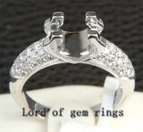 Diamond Engagement Semi Mount Ring 14K White Gold Setting Round 5.5-6mm - Lord of Gem Rings - 3