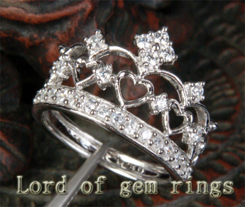 Diamond Wedding Band Engagement Ring 14K White Gold Heart Crown - Lord of Gem Rings - 1
