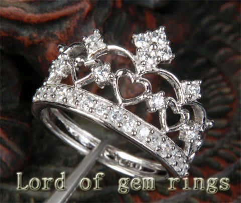 Ready to Ship: Crown Design with Hearts Diamond Wedding Engagement Ring in 14k White Gold - Lord of Gem Rings - 1
