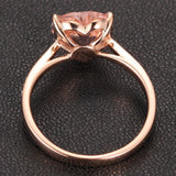 Heart Morganite Engagement Ring Pave Diamond Wedding 14K Rose Gold 8mm - Lord of Gem Rings - 3