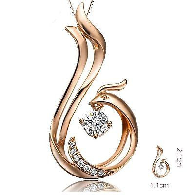 Unique Phoenix Design Diamond Pendant Necklace in 9K/18K Rose Gold White Gold - Lord of Gem Rings - 1