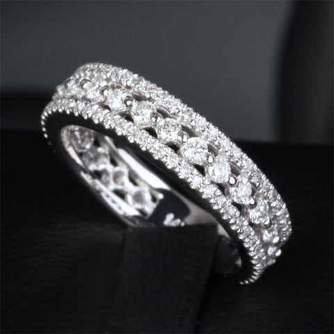 Diamond Wedding Band Eternity Anniversary Ring 14k White Gold - Lord of Gem Rings - 1