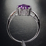 Princess Amethyst Engagement Ring Pave Diamond Wedding 14K White Gold 6.5mm - Lord of Gem Rings - 3