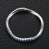 Ready to Ship - Natural Blue Sapphire Wedding Band Eternity Anniversary Ring 14K White Gold - Lord of Gem Rings - 3