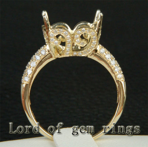 Diamond Engagement Semi Mount Ring 14K Yellow Gold Setting Cushion 12mm - Lord of Gem Rings - 1