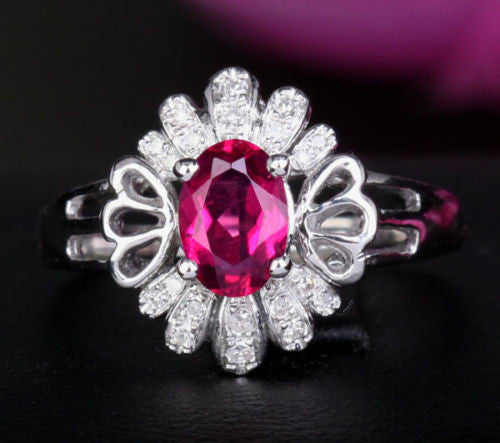 Oval Pink Tourmaline Engagement Ring Diamond Wedding 14K White Gold 5x7mm - Lord of Gem Rings - 1