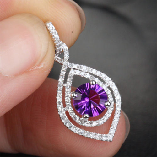 VS Dark 6mm Amethyst .35ctw Diamonds Solid 14k White Gold Pendant For Necklace - Lord of Gem Rings - 1