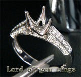 Diamond Engagement Semi Mount Ring 14K White Gold Setting Round 6.5mm - Lord of Gem Rings - 3