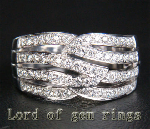 Unique .65ct Diamonds Wedding Band Engagement Ring in 14K White Gold, 7.24g - Lord of Gem Rings - 1