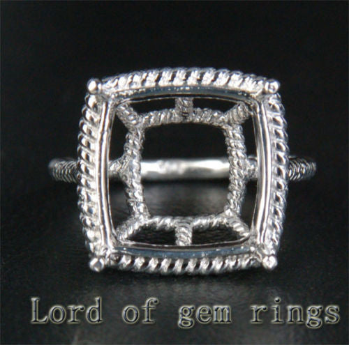 Engagement Semi Mount Ring 14K White Gold Setting Cushion 7mm, Filigree, 5.04g Unique! - Lord of Gem Rings - 1