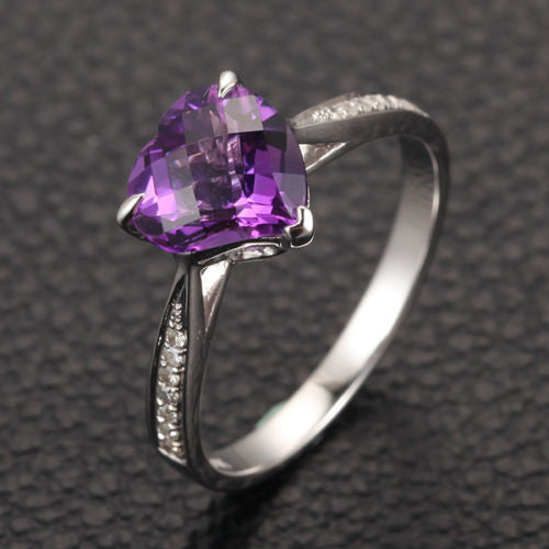 Heart Shaped Amethyst Engagement Ring Pave Diamond Wedding 14K White Gold 8mm Claw Prongs - Lord of Gem Rings - 1