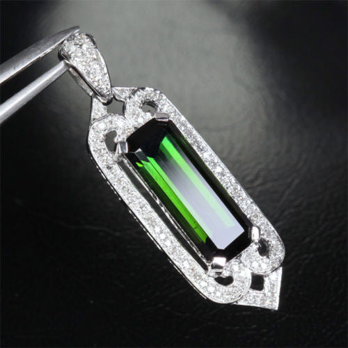 Unique 3.55ct Emerald Cut Green Tourmaline VS/H Diamonds Pendant 14K White Gold - Lord of Gem Rings - 1