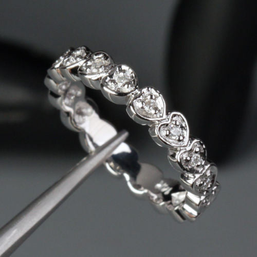 Diamond Wedding Band Eternity Anniversary Ring 14k White Gold Heart Shaped - Lord of Gem Rings - 1