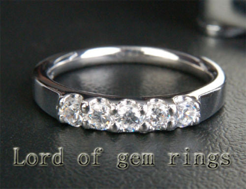 Diamond Wedding Band Engagement Ring 14kt White Gold - 5 Stones - Lord of Gem Rings - 1