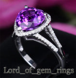 Heart Shaped Amethyst Engagement Ring Pave Diamond Wedding 14k White Gold 11mm - Lord of Gem Rings - 3
