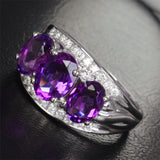 Oval Amethyst Engagement Ring Pave Diamond Wedding 14K White Gold 6x8mm - 3 stones - Lord of Gem Rings - 9