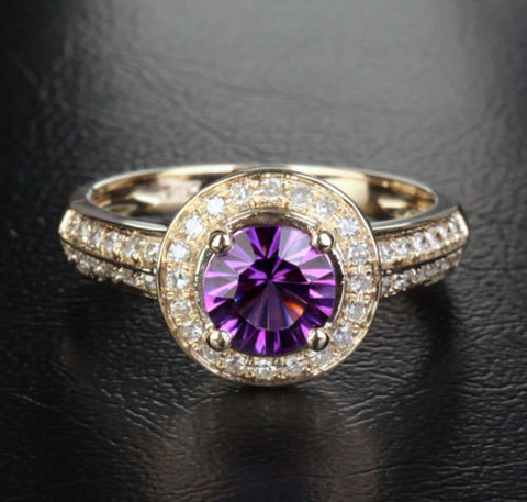 Round Amethyst Engagement Ring Diamond Wedding 14K Yellow Gold 6.5mm - Lord of Gem Rings - 1