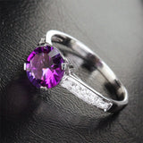 Round Amethyst Engagement Ring Pave Diamond Wedding 14K White Gold 7.3mm Cocktail - Lord of Gem Rings - 2