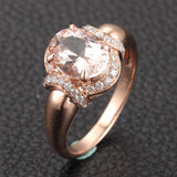 Oval Morganite Engagement Ring Diamond 14K Rose Gold 6x8mm - Lord of Gem Rings - 3