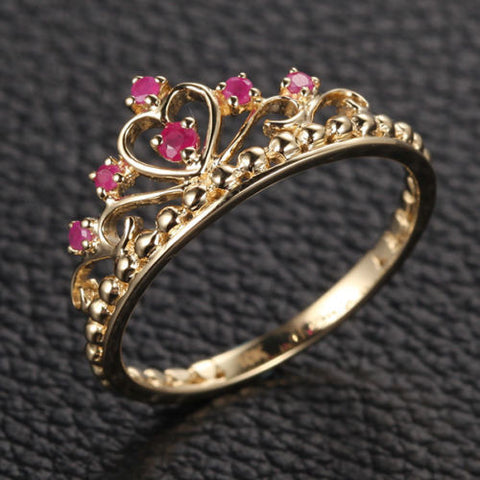 Red Crown Rubies Engagement Ring Anniversary Band in 14K Yellow Gold - Lord of Gem Rings - 1