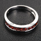 Princess Red Garnet Diamond Wedding Band Half Eternity Anniversary Ring 14K White Gold - Lord of Gem Rings - 5
