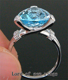 Trillion Blue Topaz Engagement Ring Diamond Wedding 14K White Gold 11mm - Lord of Gem Rings - 1