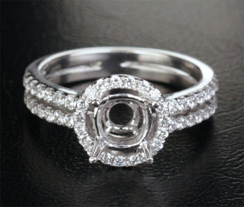 Diamond Engagement Semi Mount Ring 14K White Gold Setting Round 6.5mm - Lord of Gem Rings - 1