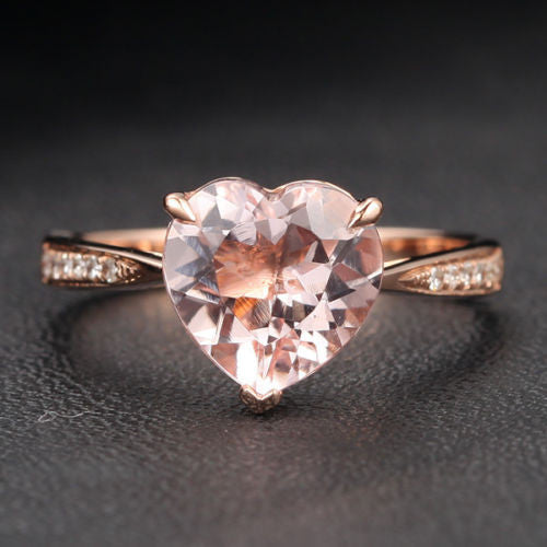 Heart Morganite Engagement Ring Pave Diamond Wedding 14K Rose Gold 8mm - Lord of Gem Rings - 1
