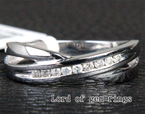 Unique Channel .15ct Diamonds Wedding Band Engagement Ring in 14K White Gold - Lord of Gem Rings - 1