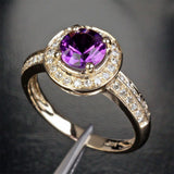 Round Amethyst Engagement Ring Diamond Wedding 14K Yellow Gold 6.5mm - Lord of Gem Rings - 3