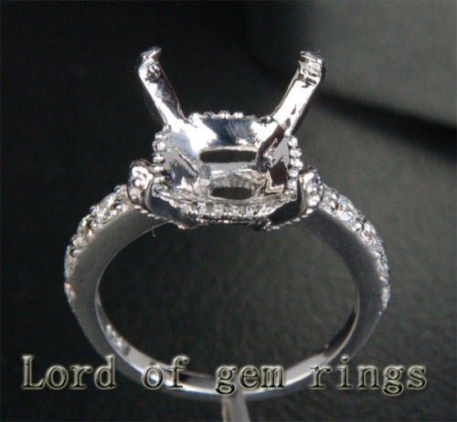 Diamond Engagement Semi Mount Ring 14K White Gold Setting Emerald Cut 11mm - Lord of Gem Rings - 1