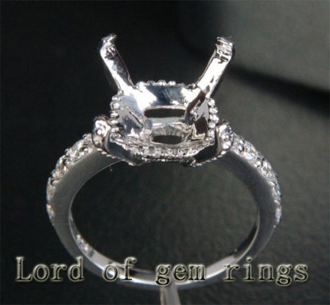 Reserved for majella  Princess Moissanite RIng 14K White Gold Accent Diamonds - Lord of Gem Rings - 1