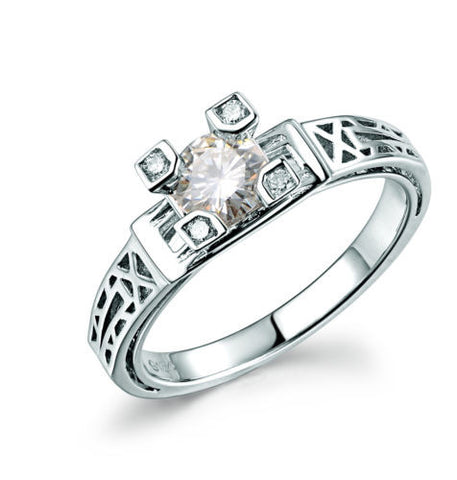Round Moissanite Engagement Ring Diamond 18K White Gold Art Deco Filigree Hand Engraved - Lord of Gem Rings - 1