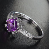Princess Amethyst Engagement Ring Pave Diamond Wedding 14K White Gold 6.5mm - Lord of Gem Rings - 9