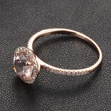 Round Morganite Engagement Ring Pave Diamond Wedding 14K Rose Gold 7mm - Lord of Gem Rings - 5