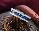 Princess Cut Ceylon Blue Sapphire VS-H Diamonds Wedding Band 14k White Gold - Lord of Gem Rings - 4