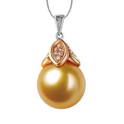 11mm-12mm South Sea Pearls 18K Two-Tone Gold VS-SI Diamonds pendant for Necklace - Lord of Gem Rings - 1