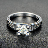 Round Moissanite Engagement Ring Diamond 18K White Gold Art Deco Filigree Hand Engraved - Lord of Gem Rings - 2