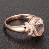 Oval Morganite Engagement Ring Diamond 14K Rose Gold 6x8mm - Lord of Gem Rings - 5