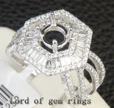 Baguette Diamond Engagement Semi Mount Ring 14K White Gold Round 6.3-6.7mm - Lord of Gem Rings - 3