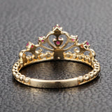 Red Crown Rubies Engagement Ring Anniversary Band in 14K Yellow Gold - Lord of Gem Rings - 4