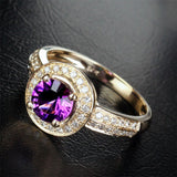 Round Amethyst Engagement Ring Diamond Wedding 14K Yellow Gold 6.5mm - Lord of Gem Rings - 2