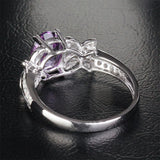 Oval Dark Amethyst Engagement Ring Pave Diamond Wedding 14k White Gold 6x8mm - Bowknot - Lord of Gem Rings - 7