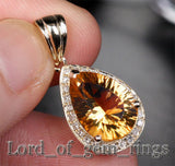 Natural 3.60ct Citrine 14k Gold .26ctw SI H Diamonds Pendant For Necklace - Lord of Gem Rings - 1