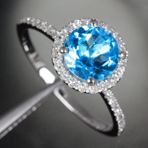 Round Blue Topaz Engagement Ring Pave Diamond Wedding 14k White Gold 7mm - Lord of Gem Rings - 1