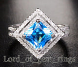 PRINCESS BLUE TOPAZ Engagemnt RING Pave DIAMOND Wedding 14K WHITE GOLD 7.5mm Double Halo - Lord of Gem Rings - 1