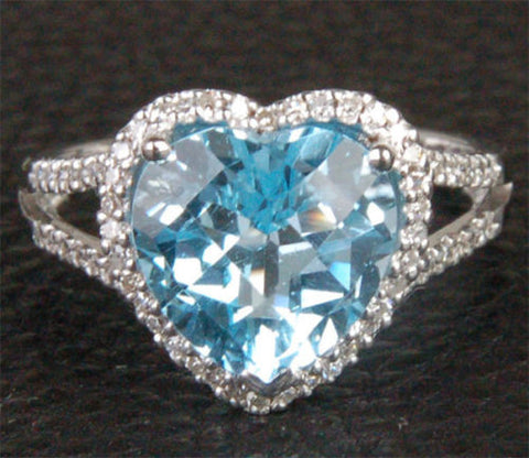 Heart Shaped Blue Topaz and Diamonds Engagement Ring, Halo,14k White Gold - Lord of Gem Rings - 1