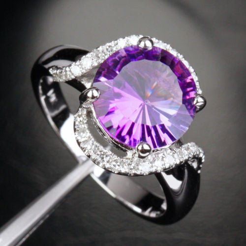 Round Amethyst Engagement Ring Pave Diamond Wedding 14k White Gold 10mm - Lord of Gem Rings - 1